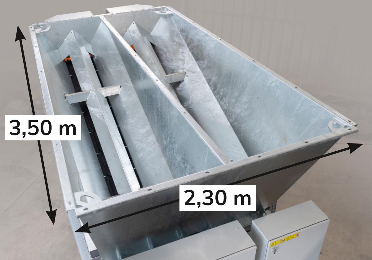 Vorratskammer (mit angegebener Tiefe und Breite zum Beladen)